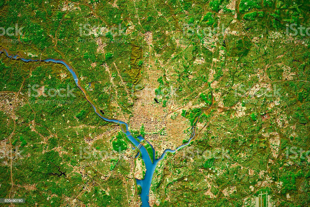 Washington DC City Topographic Map Natural Color stock photo