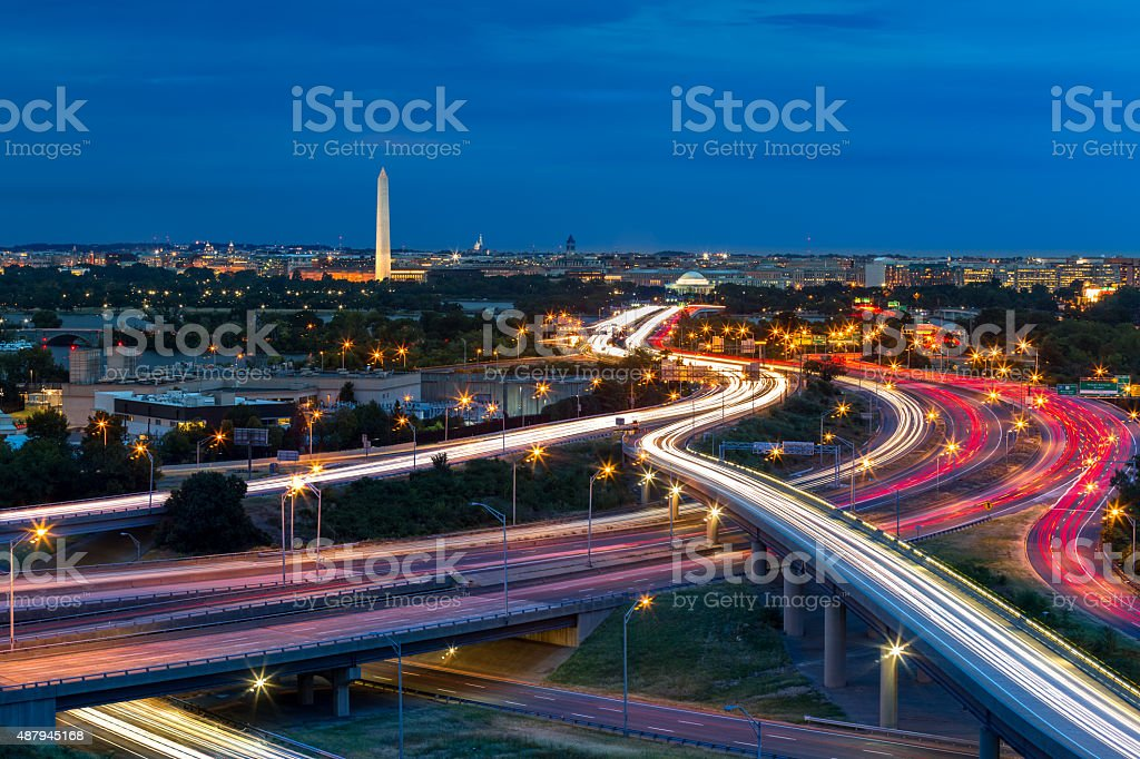 Washington D.C. cityscape at dusk stock photo