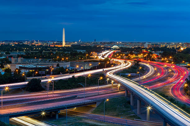washington d.c. cityscape at dusk - long exposure stock pictures, royalty-free photos & images