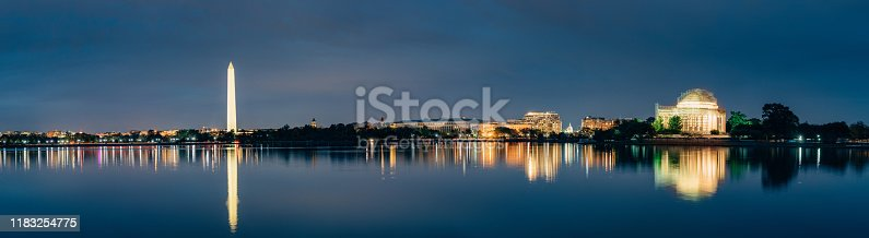 Washington DC Cityscapes, Thomas Jefferson Memorial seen from Tidal Basin. Panoramic Image