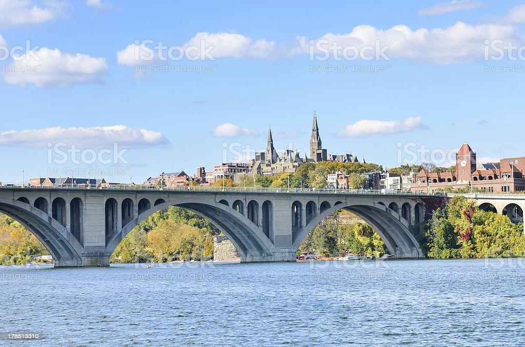 Washington DC, Georgetown and Key Bridge stock photo