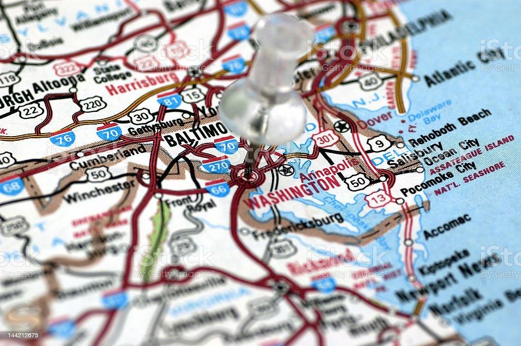 Washington DC in map royalty-free stock photo