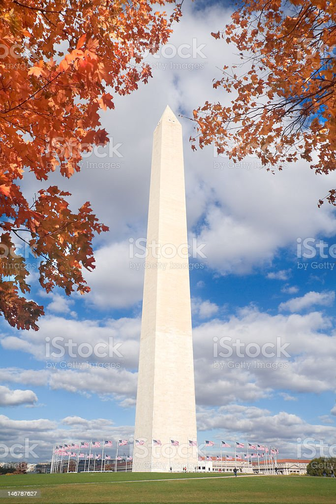 Washington DC Monument Autumn, Framed Red, Yellow Leaves, Blue Sky stock photo