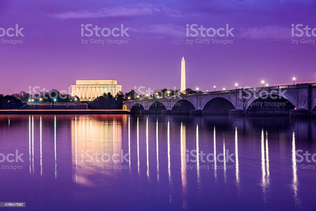 Washington DC Monuments on the Potomac stock photo