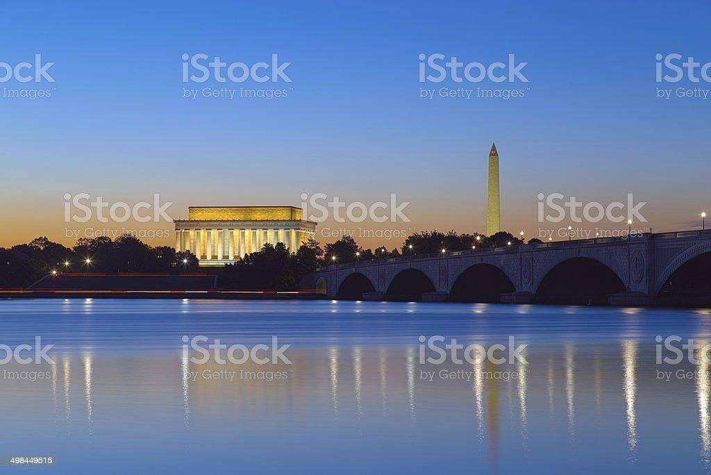 Washington DC - Monuments reflecting on the Potomac stock photo