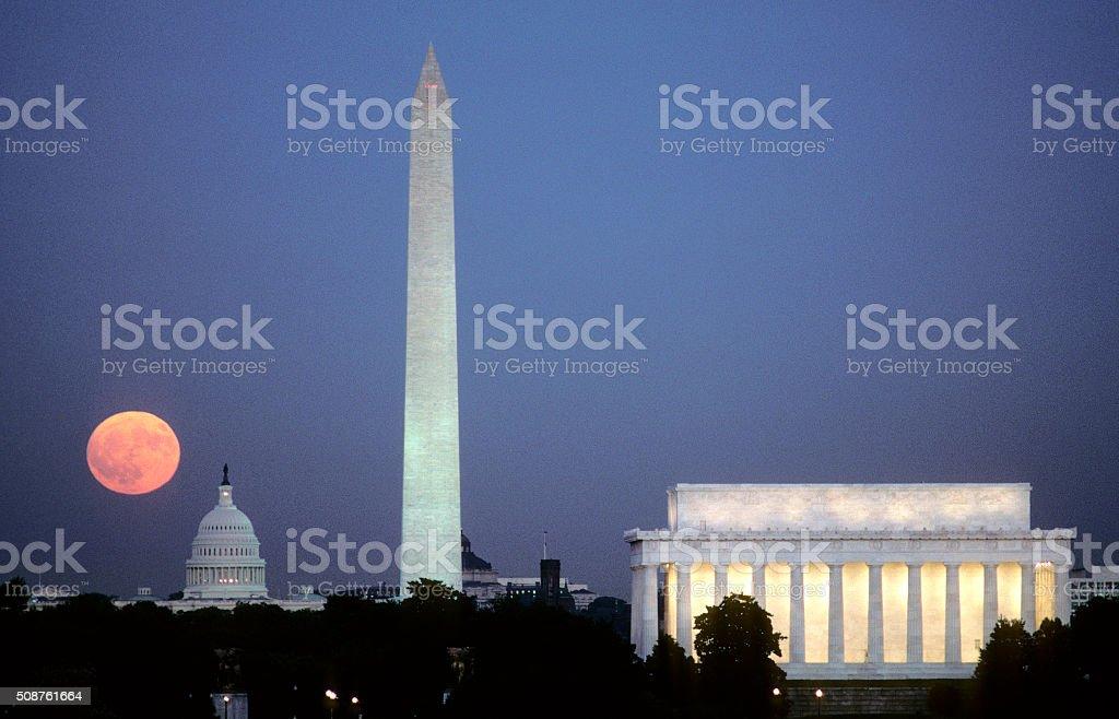 Washington DC, Moonrise stock photo