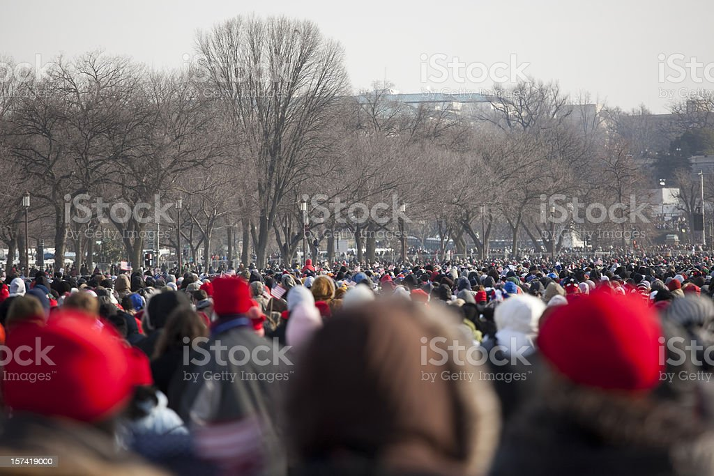Washington DC Presidential Inauguration Crowds stock photo