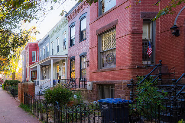 Washington DC Row Colorful Townhouses Brick Architecture Exterio – Foto