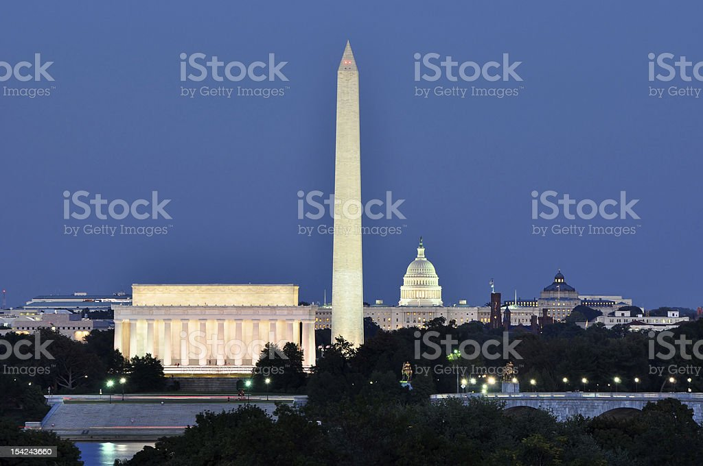Washington, DC, skyline at night stock photo