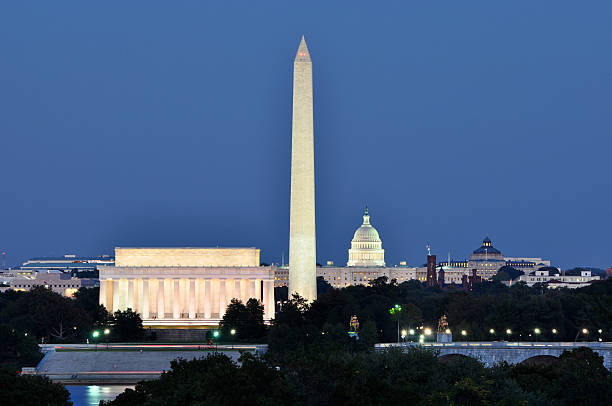 washington, dc, skyline at night - monument bildbanksfoton och bilder
