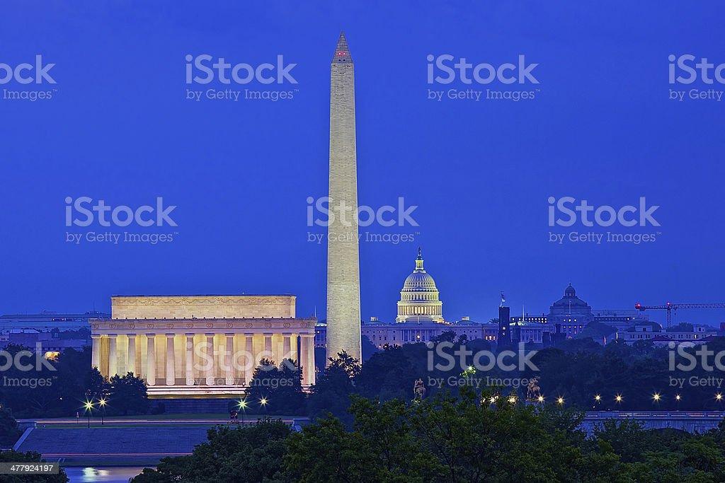 Washington, DC skyline at night; United States royalty-free stock photo