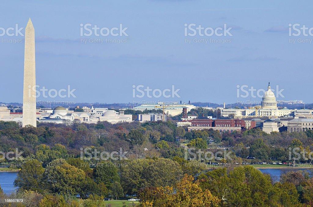 워싱턴 DC 스카이라인 가을 royalty-free 스톡 사진