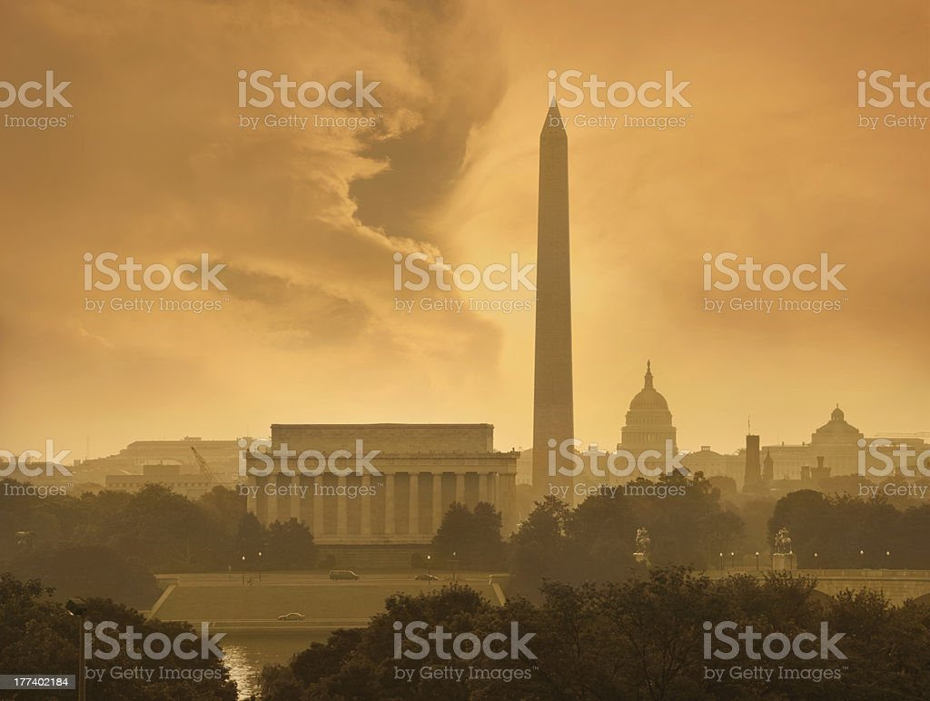 Washington DC skyline under menacing clouds stock photo