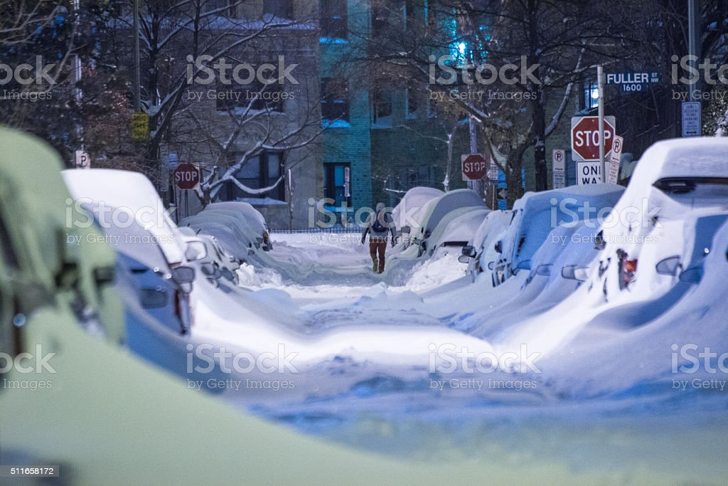 Washington DC Street at Night During Winter Storm Jonas 2016 stock photo