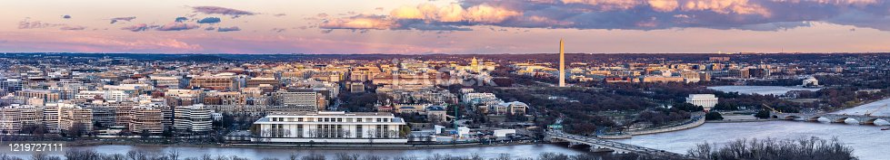 Panorama aerial view of Washington DC Skyscraper skylines building cityscape Capital of USA  from Arlington Virginia USA in sunset twilight.
