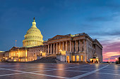 The United States Capitol Building at night in Washington DC