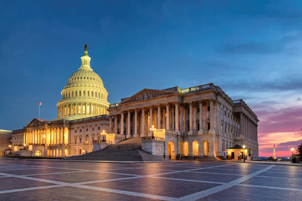 Washington DC, US Capitol Building at sunset stock photo