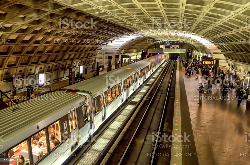Washington DC, USA. November 2012. Commuters wait for train at Washington DC subway station stock photo