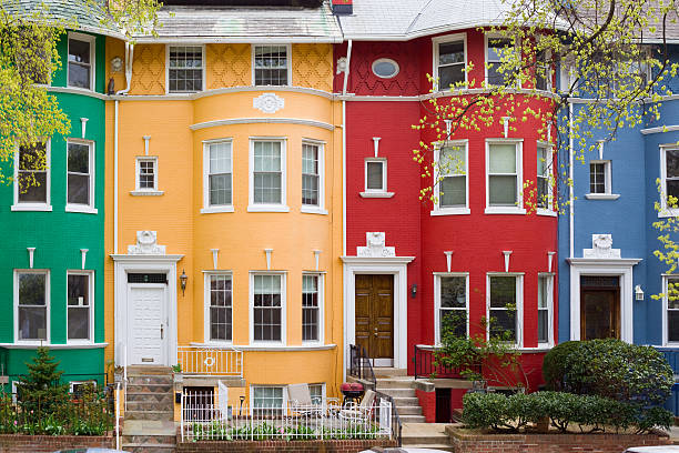 Washington DC, USA Colorful row houses in Washington DC, USA townhouse stock pictures, royalty-free photos & images
