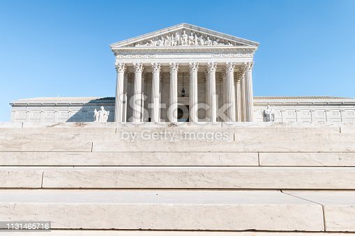 Washington DC, USA steps stairs of Supreme Court marble building architecture on Capital capitol hill with columns pillars
