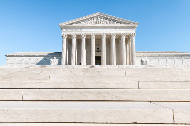 Washington DC, USA steps stairs of Supreme Court marble building architecture on Capital capitol hill with columns pillars stock photo