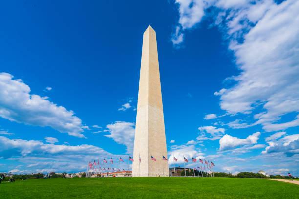 washington dc,Washington monument on sunny day with blue sky background. stock photo