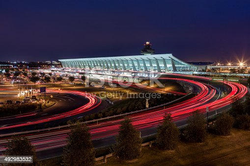 Washington Dulles Airport seen at sunset