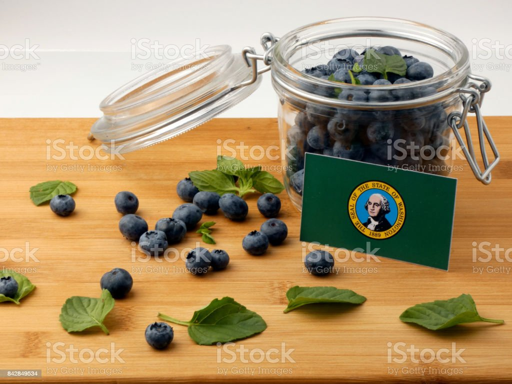 Washington flag on a wooden plank with blueberries isolated on white stock photo