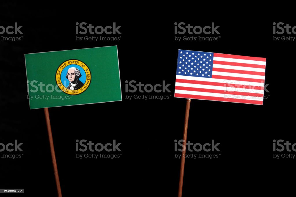 Washington flag with USA flag isolated on black background stock photo