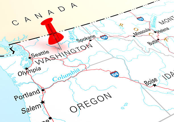 Washington Map Red Thumbtack Over Washington State USA Map. 3D rendering pierce county washington state stock pictures, royalty-free photos & images