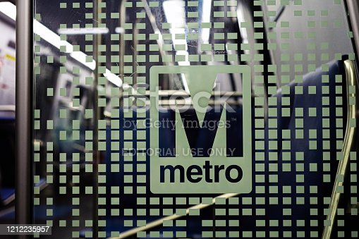 Washington DC, USA - June 9, 2019: Washington Metropolitan Area Transit Authority WMATA metro logo on new 7000 series train