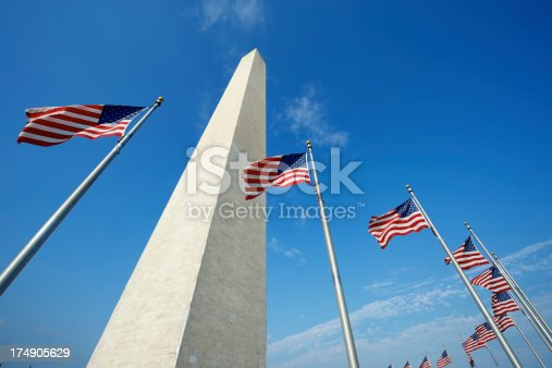 American flags ring the Washington Monument in Washington DC under a bright blue sky