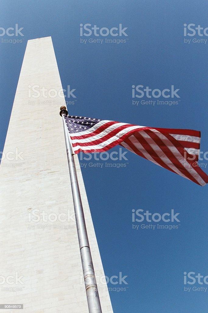 Washington Monument and American Flag royalty-free stock photo