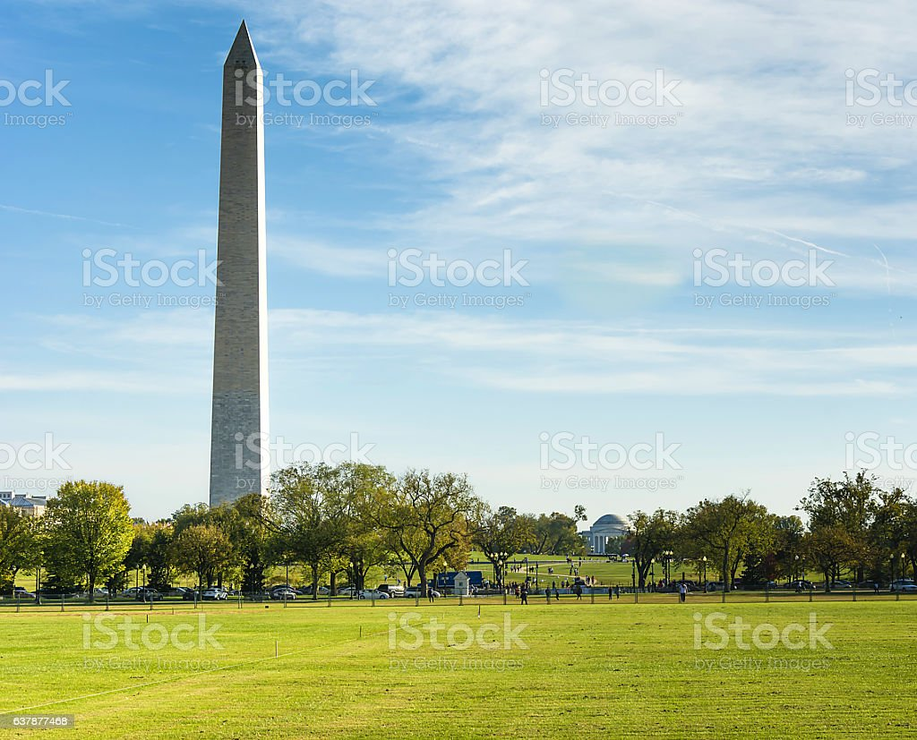 Washington Monument and Jefferson memorial stock photo