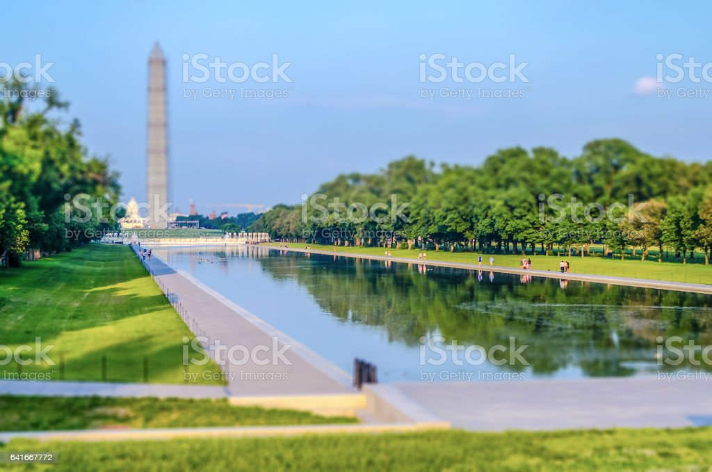Washington Monument and Reflecting Pool, Washington DC. Tilt-shift effect applied stock photo