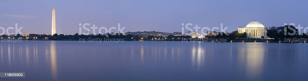 Washington Monument and the Capitol Panoramic Nighttime royalty-free stock photo