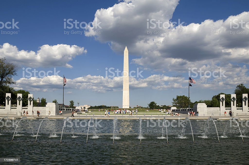 Washington Monument and World War Two Memorial royalty-free stock photo