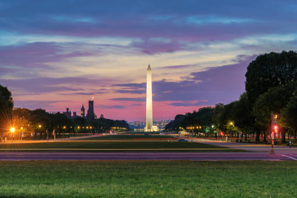 Washington Monument at sunset stock photo