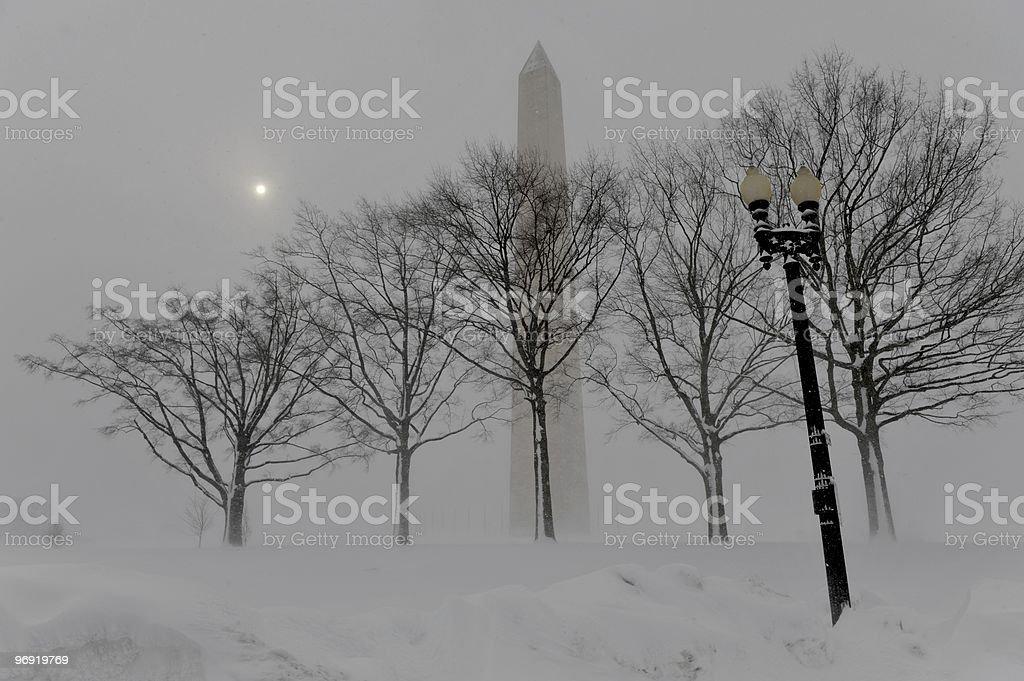 Washington Monument during the snow storm royalty-free stock photo