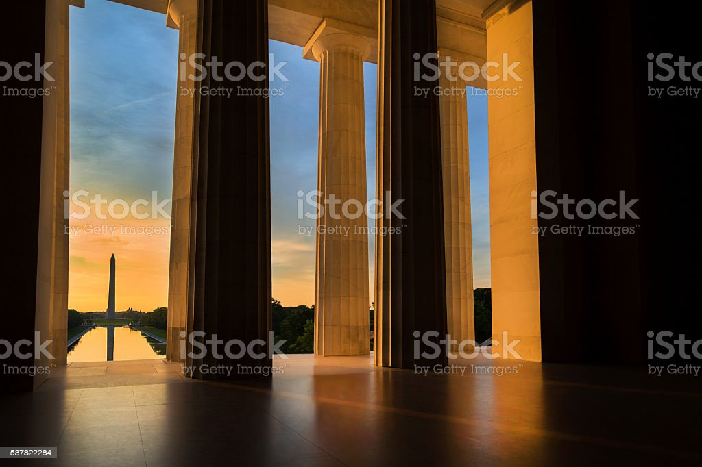 Washington Monument from Lincoln Memorial at Sunrise in Washington, DC stock photo