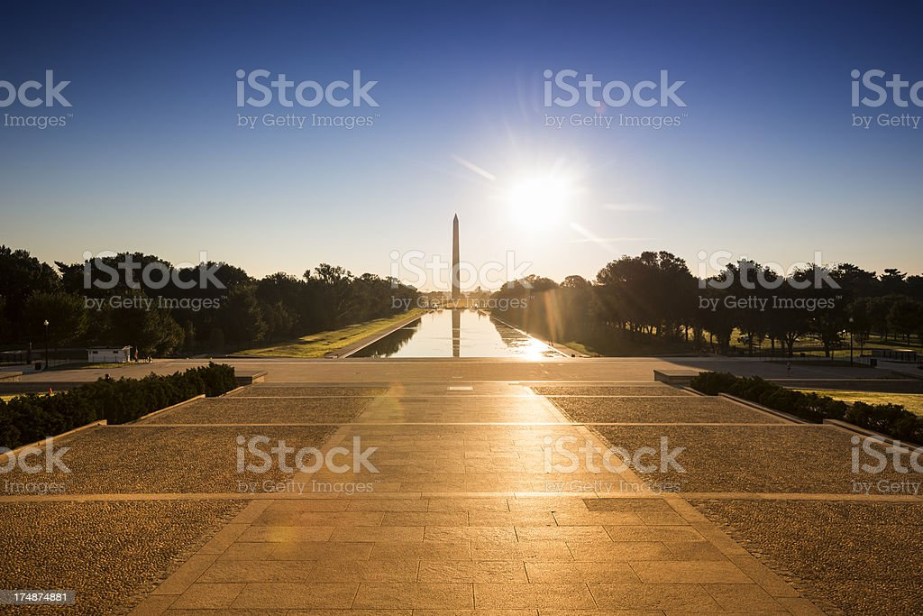 Washington Monument from the Lincoln Memorial stock photo