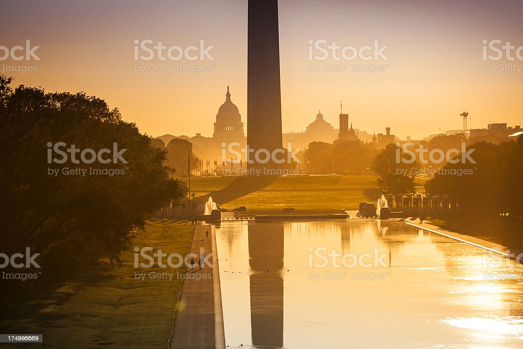 Washington Monument from the Lincoln Memorial royalty-free stock photo