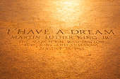Washington D.C., USA - September 23, 2012: Martin Luther King quote inscription on the steps of the Lincoln Memorial on The National Mall.  \