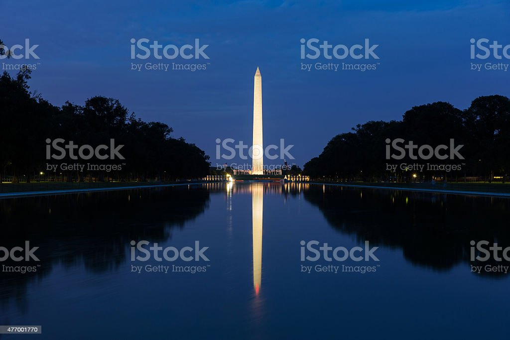 Washington monument in front of reflecting pool stock photo