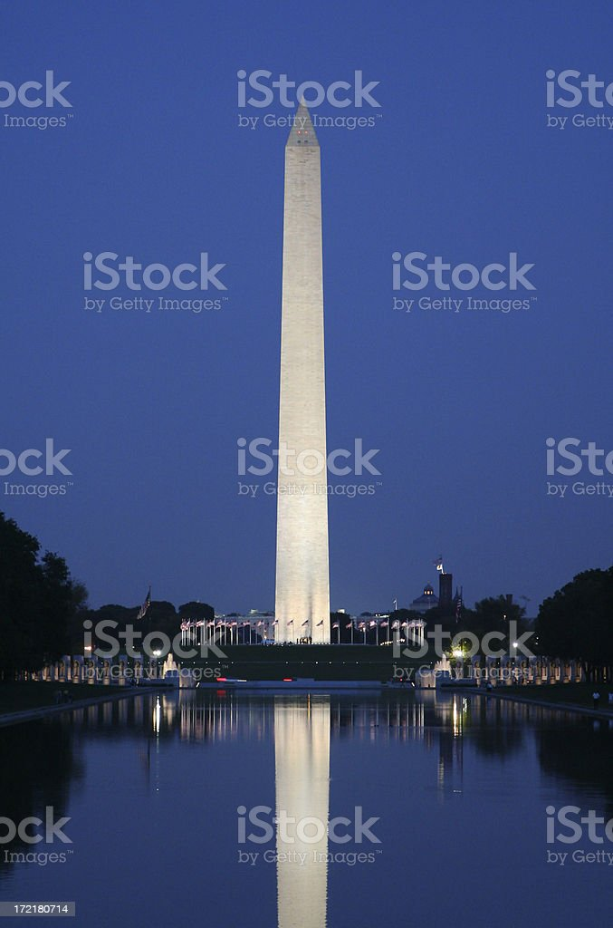 Washington monument reflected on water in the evening stock photo