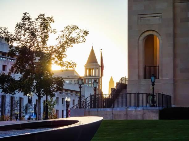 washington monument silhouet - zuidoost stockfoto's en -beelden