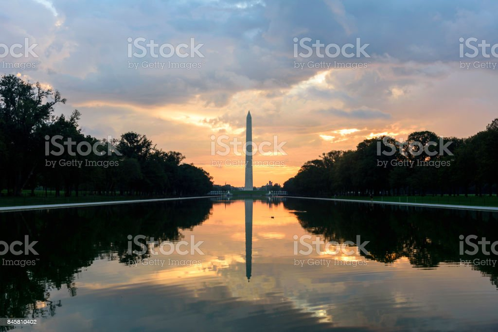 Washington National Monument at Sunrise, Capitol Building and Reflecting Pool at Sunrise, Washington DC stock photo