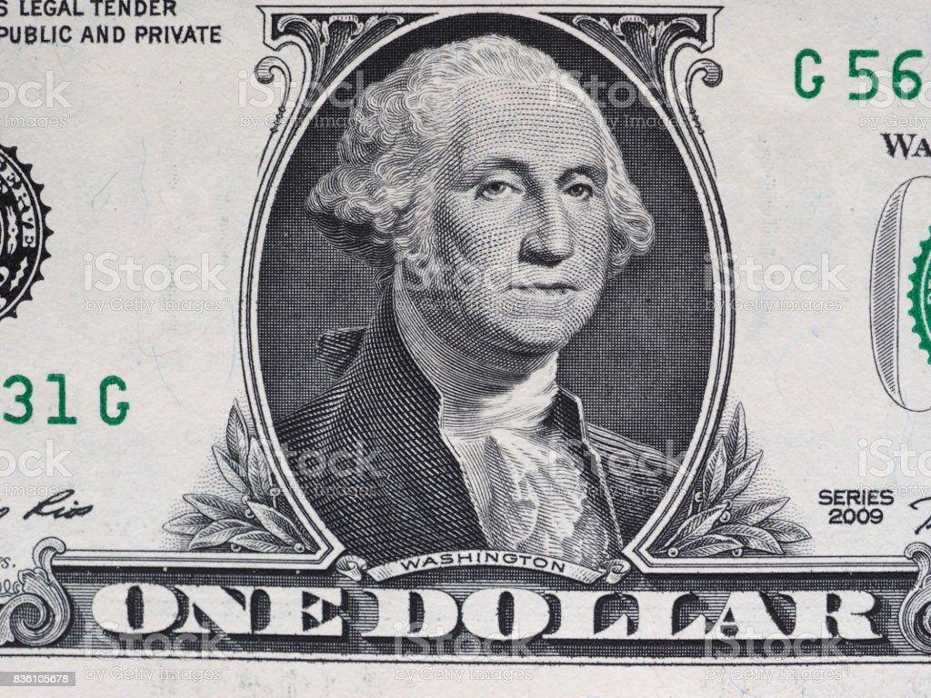 Washington on 1 dollar note, United States stock photo
