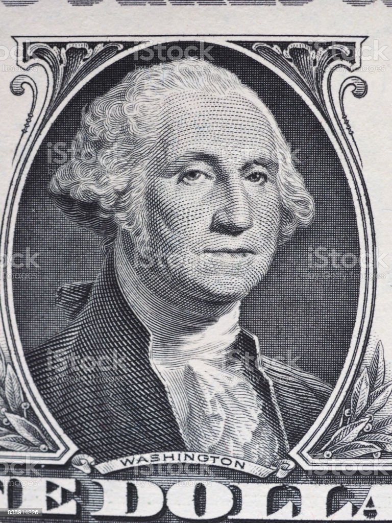 Washington on 1 dollar note, United States stock photo