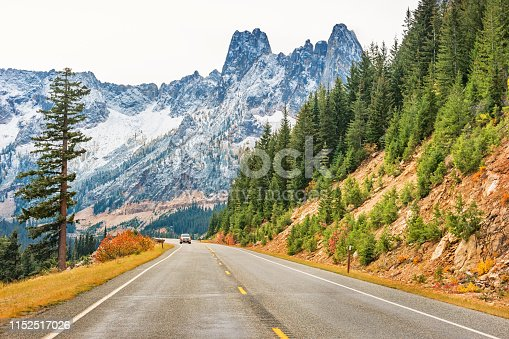 Stock photograph of Liberty Bell Mountain at Washington Pass in North Cascades National Park, Washington state, USA
